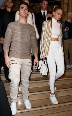 Joe Jonas & Gigi Hadid from The Big Picture: Today's Hot Pics  The lovebirds arrive at the Balmain show during Paris Fashion Week.