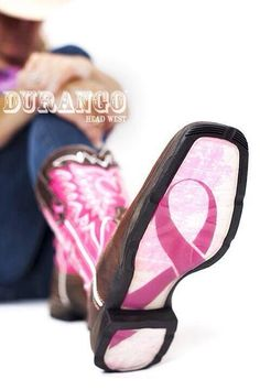 Brown Square toe leather boot, Featuring a Pink top, with white design stitching, Silver Rhinstones and Hot Pink 'Breast Cancer' Logo embroidery on the outside of the pull straps. Pink Breast Cancer Logo Design in Sole Of Each Boot. Cowgirl Boots, Western Boots, Country Boots, Cowgirl Style, Riding Boots, Ugg Boots, Shoe Boots, Durango Boots, Uggs For Cheap