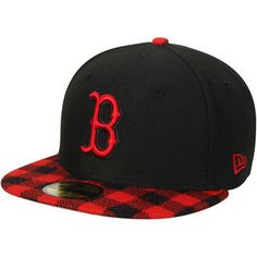 New Era Boston Red Sox Black/Plaid Premium 59FIFTY Fitted Hat