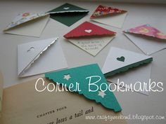 Corner bookmarks - really easy craft project, good for kids. Also works as table place markers!