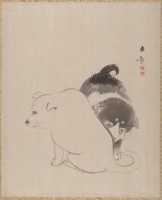 A Pair of Puppies Artist: Kawabata Gyokushō (Japanese, 1842–1913) Period: Meiji period (1868–1912) Date: 1868 Culture: Japan Medium: Album leaf; ink on silk