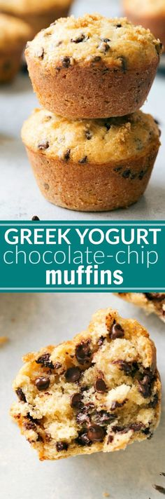 Greek yogurt chocolate-chip muffins made with better-for-you ingredients and no sacrifice of flavor! These muffins are soft, tender, moist, and delicious! via chelseasmessyapron.com