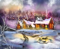 Lecottageenneige by roserika on deviantART Sort of like Thomas Kincaid, but not as annoying to me. Would make a good Christmas card, though!