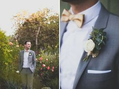 mid grey suit with a white shirt and gold bow tie.