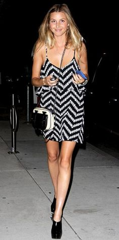 Look of the Day › August 21, 2010 WHAT SHE WORE Port hit the L.A. launch of Ruthie Davis shoes in a graphic print Blu Moon dress, Ruthie Davis spiked booties and a Rebecca Minkoff bag.