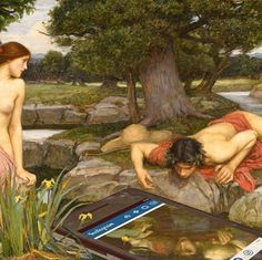 This is a modern edit of the Waterhouse painting showing Narcissus looking at his own picture on his Instagram admiring it. This is relevant to the society today as a lot of millennials are focused on social media and they most often are worried and concerned with their own looks.