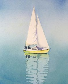 Sailboat on Lake Geneva in Switzerland. Sailing in a lemon zest sailboat, on clear aqua blue waters with a mist in the morning air puts my mind at rest.  Title: Serenity Now  ♥ An archival print of my original watercolor. The original has been sold.  ♥ CUSTOM SIZES: see drop down above 9 x 12 inches (20.32 x 30.5 cm) - $25.00 11 x 14 in. (28 x 35.6 cm) - $32.00 12 x 16 inches (30.5 x 40.64 cm) - $40.00 Fits standard mat and frames when the opening in the mat is the size of print.  ♥ Mat and…