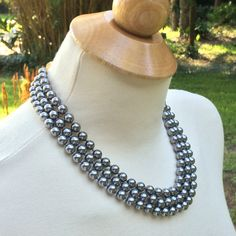 Black Pearls KJL Triple Strand Kenneth Jay Lane Vintage Faux Pearl Necklace by…