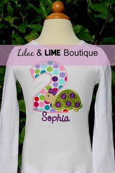 Personalized Girly Turtle Birthday Shirt or Onesie by LilacAndLime, $25.00