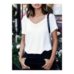 SheIn(sheinside) White V Neck Loose T-shirt (685 RUB) ❤ liked on Polyvore featuring tops, t-shirts, white short sleeve t shirt, summer t shirts, white v neck t shirt, white tee and loose white t shirt