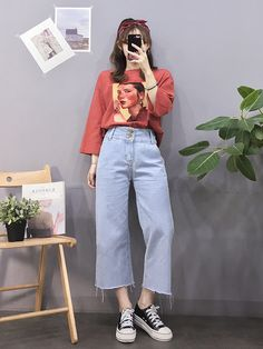 koreanische mode outfits 8286 Source by ayetrkolu Red Fashion Outfits, Mode Outfits, Look Fashion, Trendy Fashion, Kids Fashion, Fashion Shoes, Woman Fashion, Fashion Clothes, Trendy Style