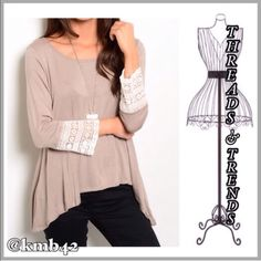 Khaki Trapeze Top Cute khaki trapeze top with lace detail. Made of rayon & spandex. Size S, M Threads & Trends Tops