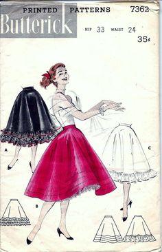 Vintage 1950s 1960s Butterick RUFFLED by vintagepatternstore
