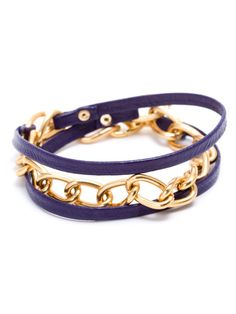 purple leather and chain wrap bracelet 18.5 in long w/lobster clasp closure