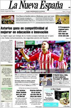Los Titulares y Portadas de Noticias Destacadas Españolas del 2 de Septiembre de 2013 del Diario La Nueva España ¿Que le pareció esta Portada de este Diario Español?
