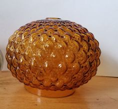 Crescent Glass Company quilted amber glass lamp globe / diamond quilted glass replacement orb / amber lamp shade Vintage Lamps, Vintage Items, Glass Replacement, Diamond Quilt, Glass Company, Amber Glass, Light Shades, Glass Shades, Decorative Bowls