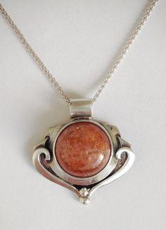 Sunstone Necklace- Small Orange Sunstone Pendant and Chain - Unique Silver Pendant- Sterling Silver Jewelry- Orange Gemstone- Jewelry Gift