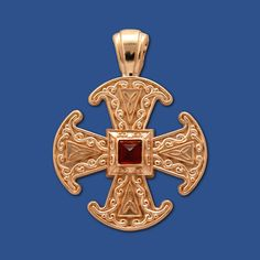 Canterbury Cross (10kt Yellow Gold, Garnet) (Large) - Click Image to Close