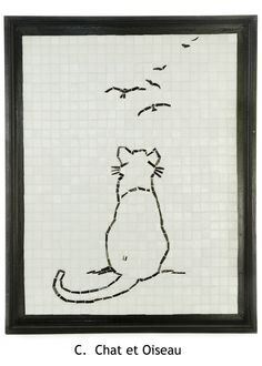 Mosaic Cat and Birds - minimalistic style using glass tiles by Lou Ann Weeks
