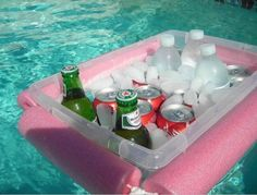 Great way to make a homemade pool cooler! Thread heavy string or a light rope through two foam pool noodles each cut in half. Tie the string and noodles around a Rubbermaid type storage box and Whaaa Laaaa...you have yourself a pool cooler!