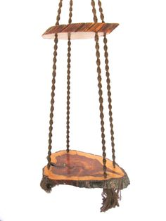 This isn't supposed to be a kid swing, but should be!Vintage hanging wood slab table macrame hanging table by StephieD