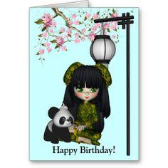 Kawaii China Doll Panda Card