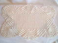 Vintage Rectangular Crocheted Doily with Scalloped by jclairep, $6.00