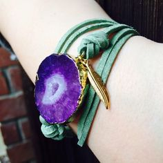 24K Gold Plated Amethyst Agate Leather Bracelet 24k Gold plated Amethyst agate bracelet. Designed & Made in California❣                 Leather adjustable straps.                                                                                                Genuine Amethyst Stones.                                                                                        Each bracelet is unique, my last photo shows each one I have available. Function & Fringe Jewelry Bracelets