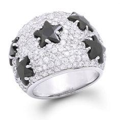 Sterling Silver Pave Onyx Black Diamond CZ Star Cocktail Ring