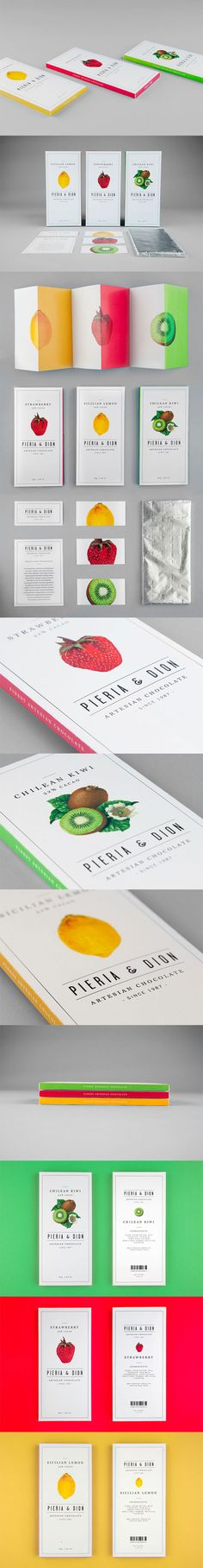 Packaging design for fictional artesian chocolate company Pieria & Dion. An assignment from my Graphic Design class at the School of Visual Arts. Graphic Design and Art Direction: Leo Porto. Photography: Fernando Gomes
