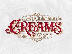 Creams by Srdjan Vidakovic Tattoo Lettering Fonts, Types Of Lettering, Lettering Design, Logo Design, Vector Design, Design Design, Typography Alphabet, Typography Fonts, Cursive Fonts