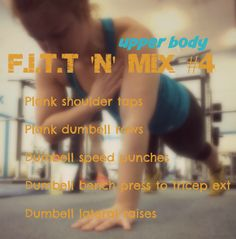 Week 2. Upper body time again! 30 mins of super high intensity circuits! Get with the 10 Week F.i.T.T for Summer Programme. Free, fun, fast. www.forkinthetreadmill.com