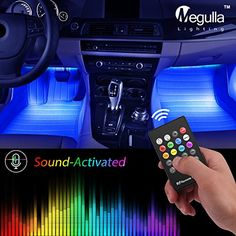 Underdash Lighting Kit, Megulla 4PC USB-Powered RGB Multi-Color LED Car Interior Lights with Sound Activation and Wireless Remote for Cars, Trucks, Pickups, Free Dual USB Car Charger Included  ⚡ Sound-Activated Control: With the distinct music mode, the light strips flash like dancing along with the rhythms of your played music inside of your vehicle. Give you a visual and vivid music enjoyment!  ⚡ Durable and Flexible: MegullaTM Lighting Strips are flexible enough to bend, twist and c...