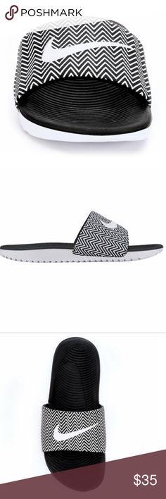f149c7638a9b Nike Women s Kawa Print Slides Black and white Chevron Print Slides. Brand  new. Very cute summer sandal. ❌NO TRADES. ✅OFFERS ACCEPTED.