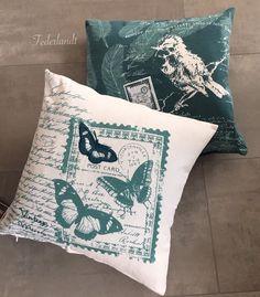 2 Kissenbezüge Kissen Bezug Deko Landhaus Boho Sofa 100% BW Bett Vogel Motiv  | eBay