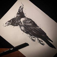Maciej Karśnicki on Crow Tattoo Design, Sketch Tattoo Design, Tattoo Sketches, Tattoo Drawings, Tattoo Designs, Crow Art, Raven Art, Hirsch Tattoo, Flash Tattoo