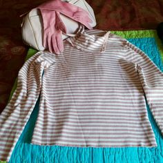 Polo Jeans sweater Long sleeved rose pink and white striped sweater. There are buttons on one side from the top of the collar to the shoulder. You can button it up for a turtle neck, or leave top ones unbuttoned for a draped look. Polo by Ralph Lauren Sweaters Cowl & Turtlenecks
