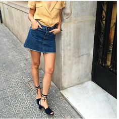Byfar shoes denim skirt