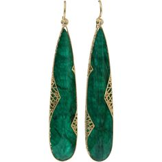 Yossi Harari Emerald Slice Lace Earrings ($4,650) ❤ liked on Polyvore featuring jewelry, earrings, brincos, emerald earrings, yossi harari jewelry, 18k earrings, 18k jewelry and lace earrings