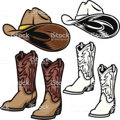 Cowboy Hat and Boots royalty-free cowboy hat and boots stock vector art & more images of brown Hat Vector, Free Vector Art, Cowboy Boots Drawing, Last Supper Photo, Cartoon Chicken, Horse Silhouette, Retro Images, Cow Art, Simple Pictures