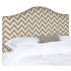 Make an elegant statement with the Connie Headboard in tightly upholstered linen fabric with thick padding to assure luxurious comfort. Nail head detailing outlines the classic camelback silhouette of this full headboard for sophisticated bedroom fashion.