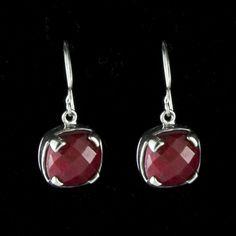 Great Falls Metalworks - Roman earrings in sterling silver and ruby (Item# DVVS Fine Jewelry Birthstones By Month, Jewelry Gifts, Fine Jewelry, Metal Working, Roman, Sterling Silver, Earrings, Red, Ear Rings