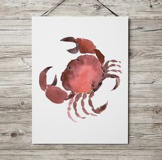 Beautiful crab poster. Cute watercolor art. Lovely nursery print. BUY 1 GET 1 FREE - use coupon code 777FOXY at checkout. Comes in two sizes: A4