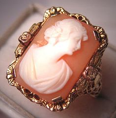 Antique Hand Carved Cameo, Filigree Ring Mounted In  Ornate Yellow Gold With Rose And Green Gold Detailing - Italian   c.1920