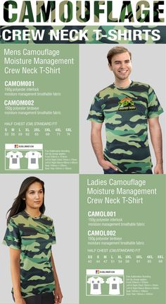 Team building, themed marketing campaign, or just a unique statement style, get creative in custom camouflage T-shirts. CAMOM001 Mens Camouflage Crew neck t-shirt Material | Polyester Interlock CAMOM002 Mens Camouflage Crew neck t-shirt Material | Polyester Birdseye CAMOL001 Ladies Camouflage Crew neck t-shirt Material | Polyester Interlock CAMOL001 Ladies Camouflage Crew neck t-shirt Material | Polyester Birdseye Contact: cell/whatsapp082 557 0609 Email: info@bestbranding.co.za Camouflage T Shirts, Team Building, Fit S, Golf Shirts, Military Fashion, Neck T Shirt, Screen Printing, Campaign, Crew Neck