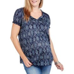 Faded Glory Maternity Short Sleeve Peasant Top, Size: Medium, Multicolor