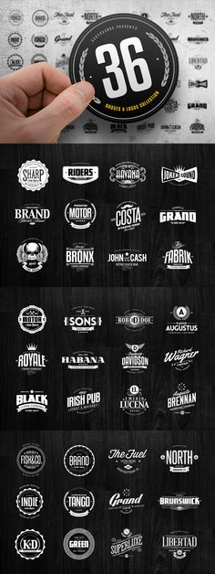 36 Badges & Logos Collection #design Download: https://creativemarket.com/Easybrandz/34672-36-Badges-Logos-Collection?u=ksioks