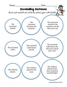 """Use this Snowballing Sentences activity for FLUENCY practice! Students can practice """"scooping"""" and phrasing each snowball. The add-on expansion represents each new phrase your students should scoop & phrase together."""