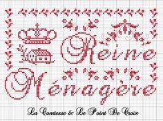 brodeuse - embroiderer - & reine ménagère - point de croix - cross stitch - Blog : http://broderiemimie44.canalblog.com/
