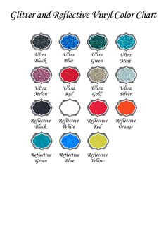 expressions vinyl glitter and reflective vinyl color chart - Cricut Vinyl Colors